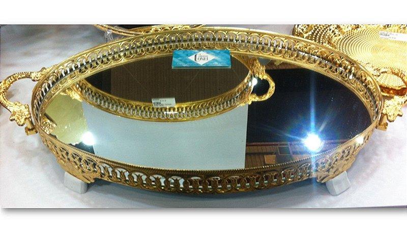 Bandeja Oval Com Espelho e Alça