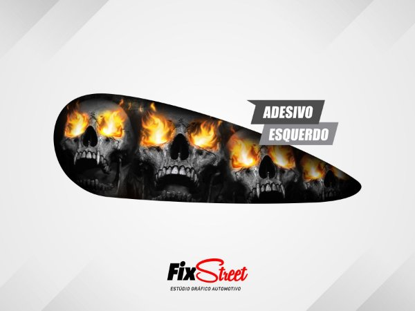 Par De Adesivos Gota Skull Flames Harley Davidson Fat Bob
