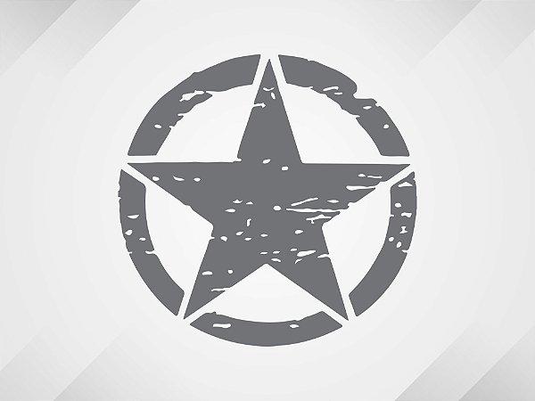 Adesivo estrela militar corroída redonda