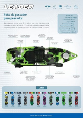 CAIAQUE INDIVIDUAL LEADER -  Caiaque preparado para instalação de  motor à pedal, motor à jato ou motor elétrico ou ainda os três juntos.
