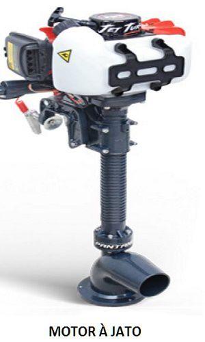 MOTOR À GASOLINA JET TURBO COM PARTIDA MANUAL - controle de velocidade e direção ao lado do banco do piloto - suporte traseiro para o motor incluído