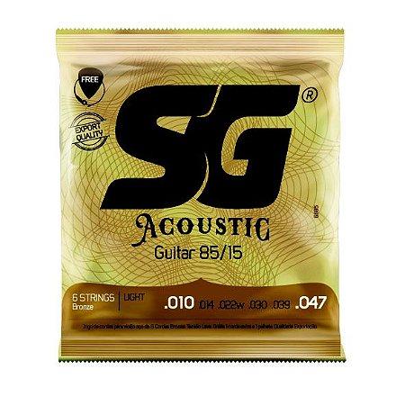 Encordoamento .010 aço bronze 85/15 para violão com palheta e 1ª MI grátis - SG