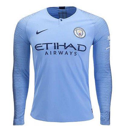 ccd1cc84d4cad Camisa Manchester City Manga Longa Home 18 19 - s n° - Torcedor Nike ...