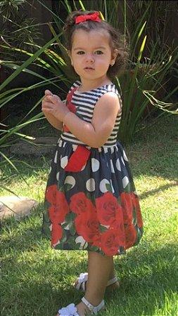 Vestido Infantil Rosas Bolas e Listras Marinho