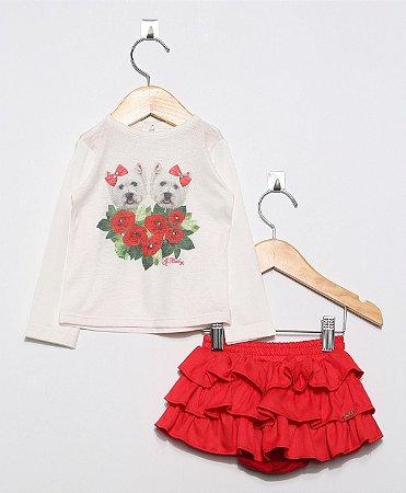 1509 Conjunto blusa estampa cachorro saia vermelha