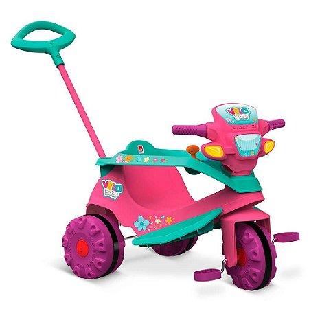 Triciclo Velobaby Gatinha Passeio E Pedal Bandeirante