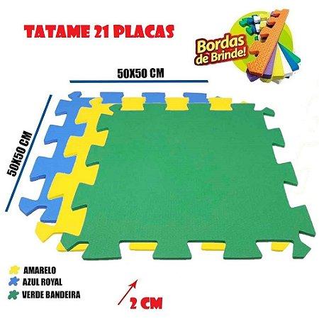 Tatames de Eva 21 Placas 50x50 20mm Azul Royal, Amarelo e Verde Bandeira