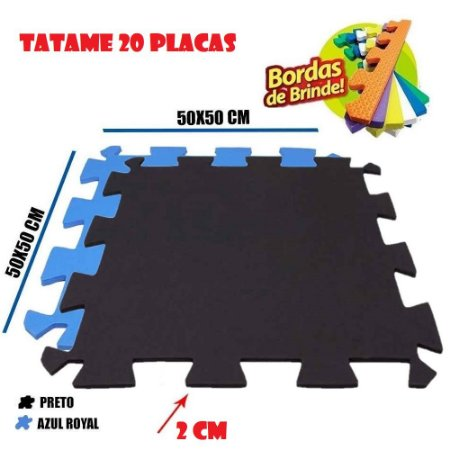 Tatames de Eva 20 Placas 50x50 20mm 10 Preto e 10 Azul Royal