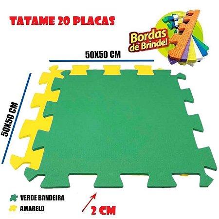 Tatames de Eva 20 Placas 50x50 20mm 10 Amarelo e 10 Verde Bandeira