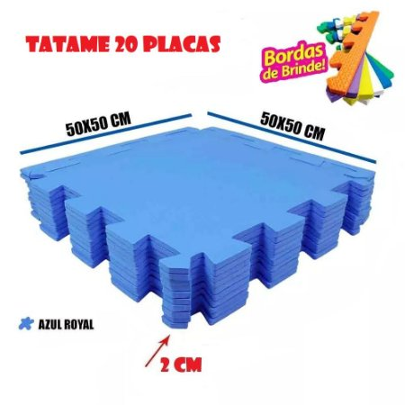 Tatames de Eva 20 Placas Azul Royal 50x50 20mm