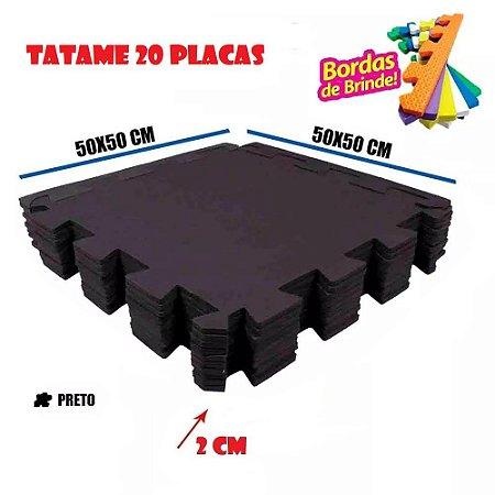 Tatames de 20 Placas Eva Preto 50x50 20mm