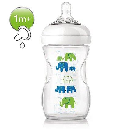 Mamadeira 260ml Pétala Elefante Azul e Verde 1m+ Avent