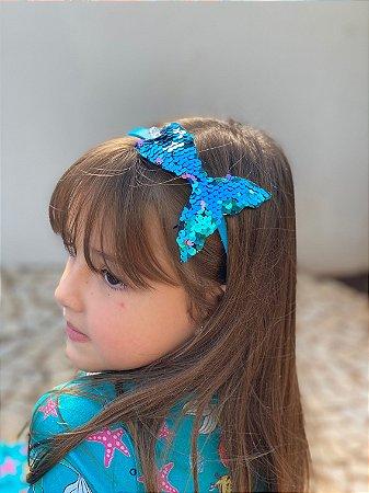 Tiara de cabelo paetê sereia