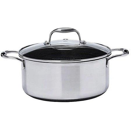 Caçarola Oxford Inox Fundo Triplo CookingPro 24cm 4,7L Preta