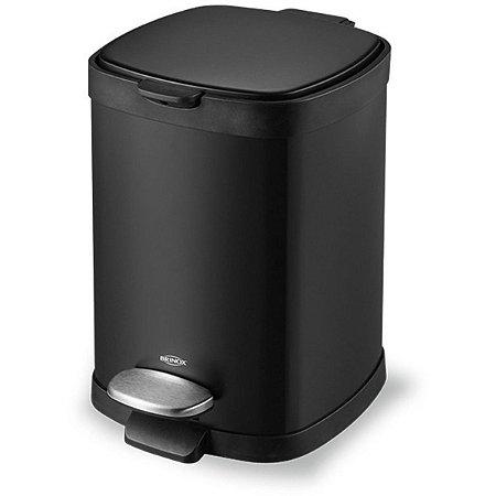 Lixeira Brinox Aço Carbono C/ Pedal e Balde Frame 6L Preto