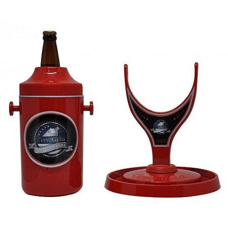 Porta Cerveja com Suporte Rotativo Vermelho Cervegela