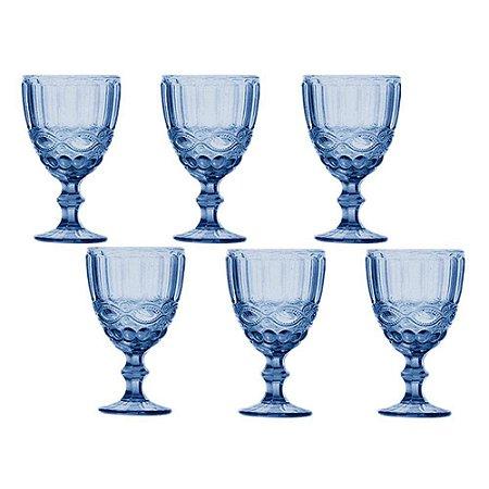 Jogo 06 Taças Agua Azul Class Home