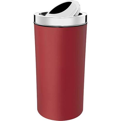 Lixeira com Tampa Basculante Inox 9L Vermelha Brinox