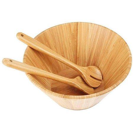 Conjunto de Saladeira de Bamboo com Garfo e Colher 3PÇ Mor