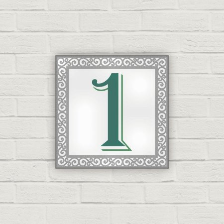 Número Residencial em Cerâmica - Arabesco Cinza e Verde - 10x10cm