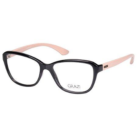 1f966982f833a Oculos de Grau Feminino Grazi GZ3037 Médio Preto Brilho com Bege ...