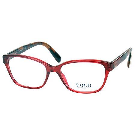 b28552719 Óculos de Grau Vermelho Translúcido Polo Ralph Lauren Feminino PH2165