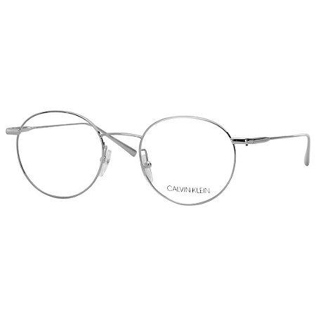 Oculos de Grau Redondo Calvin Klein CK5460 Metal Prata Pequeno ... eef1512043