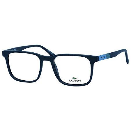 388292661198e Óculos de Grau Quadrado Lacoste L2819 Masculino Azul Fosco Médio ...