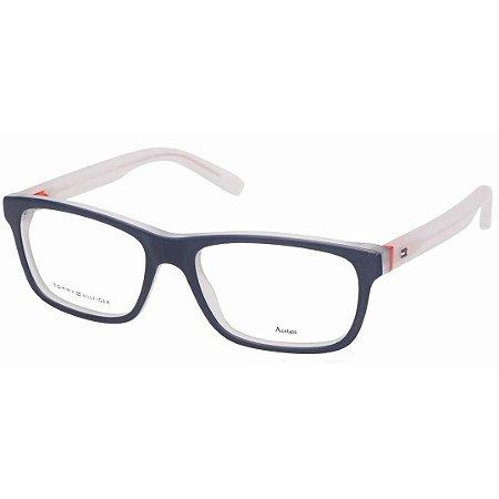 fa745fca9 Óculos de Grau Acetato Tommy Hilfiger TH1361 Azul Fosco e Transparente