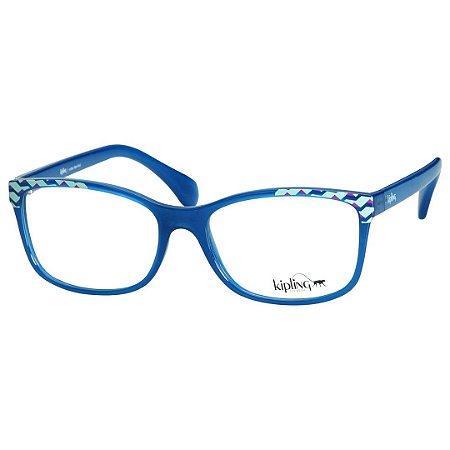 437910b53 Óculos de Grau Feminino Kipling KP3110 Azul Translúcido Brilho ...