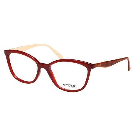 Óculos de Grau Vogue VO5128 Acetato Médio Vermelho Brilho e Marrom