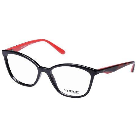f05a6a761f8fe Óculos de Grau Vogue VO5128 Preto com Vermelho e Marrom Brilho ...
