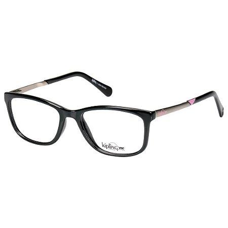 a53e85b2735cf Óculos de Grau Kipling KP3061 Preto Brilho com Prata e Rosa - Óculos ...