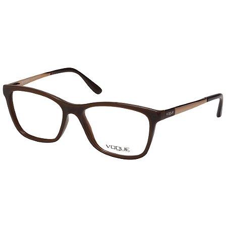 9fbe60345e803 Óculos de Grau Vogue Feminino Marrom Claro com Dourado VO2985L Médio ...