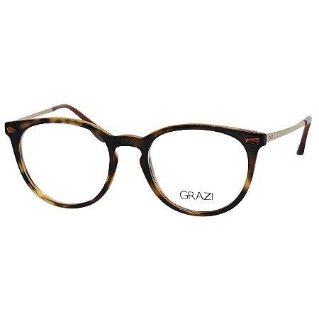 Óculos de Grau Redondo Grazi GZ3048B Marrom Tartaruga Translúcido ... 3998a14165
