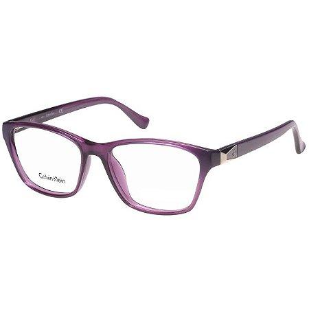 Óculos de Grau Calvin Klein Platinum CK5891 Feminino Roxo Translúcido Acetato Médio