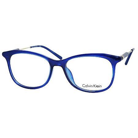 Armação de Óculos Feminino Calvin Klein CK5976 Azul Translúcido Brilho com Dourado