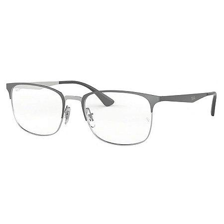 Óculos de Grau Ray Ban RX6421 Metal Cinza Escuro e Prata Médio