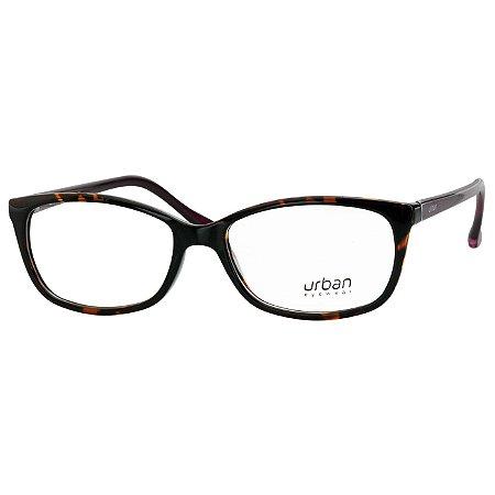 Armação Óculos de Grau Urban 5029 Feminino Médio Marrom Demi com Roxo 8377af943c