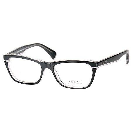 Óculos de Grau Preto Brilho com Transparente Feminino Ralph Lauren Médio RA7091