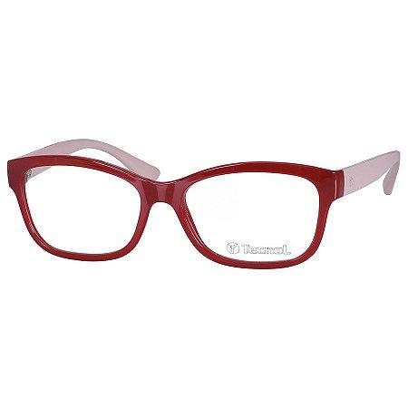 Armação de Óculos Vermelho Tecnol TN3038 Brilho e Bege Feminino