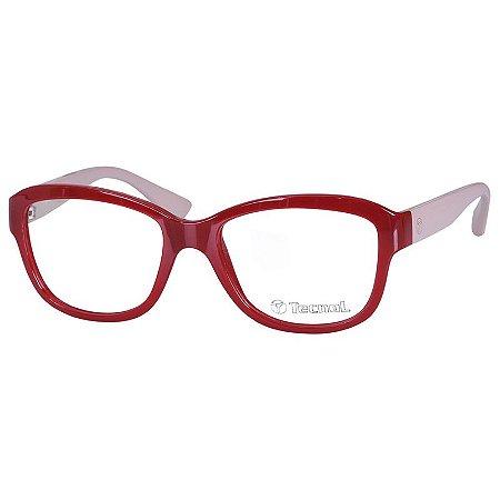 Óculos de Grau Feminino Tecnol TN3045 Pequeno Vermelho e Bege