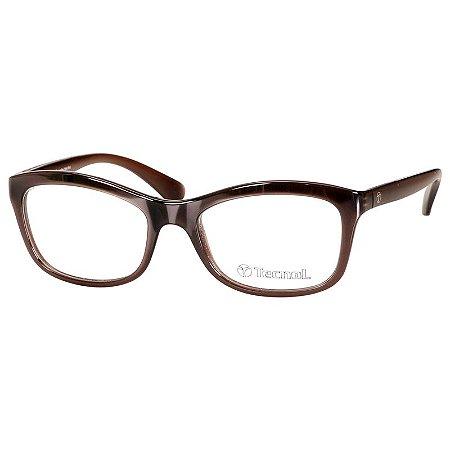 Óculos de Grau Feminino Marrom Tecnol TN3025 Pequeno Brilho