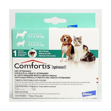 comfortis - 560mg cães de 9,1kg a 18kg Gatos de 5,5kg a 11kg