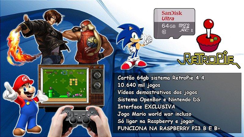 Cartão 64gb RetroPie com 10 640 Mil Jogos