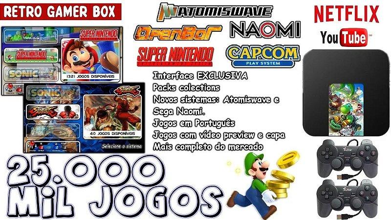 Vídeo Game - Retro Gamer Box 25 Mil Jogos + 2 Controle Usb