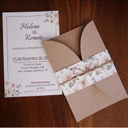 Convite Casamento Rústico Borboleta
