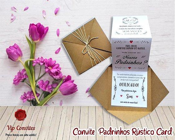 CONVITE RÚSTICO CARD  (MÍNIMO 10 UNIDADES)