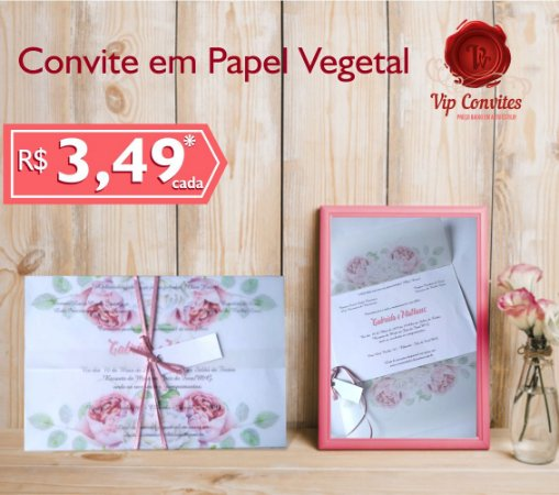 Convite Vegetal Floral Rosa