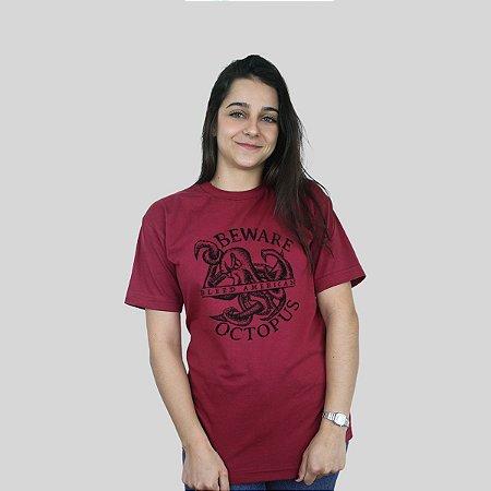 Camiseta Bleed Octopus Vinho
